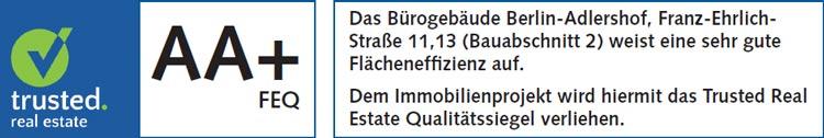 Flächeneffizienz-Urkunde NUBIS Bauabschnitt 2